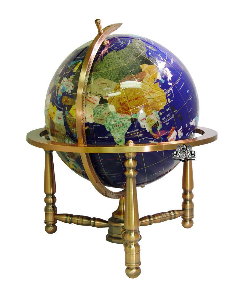 Unique Art 19-Inch Tall Blue Lapis Ocean Table Top Gemstone World Globe with Copper Stand by Unique Art Since 1996 (Image #2)