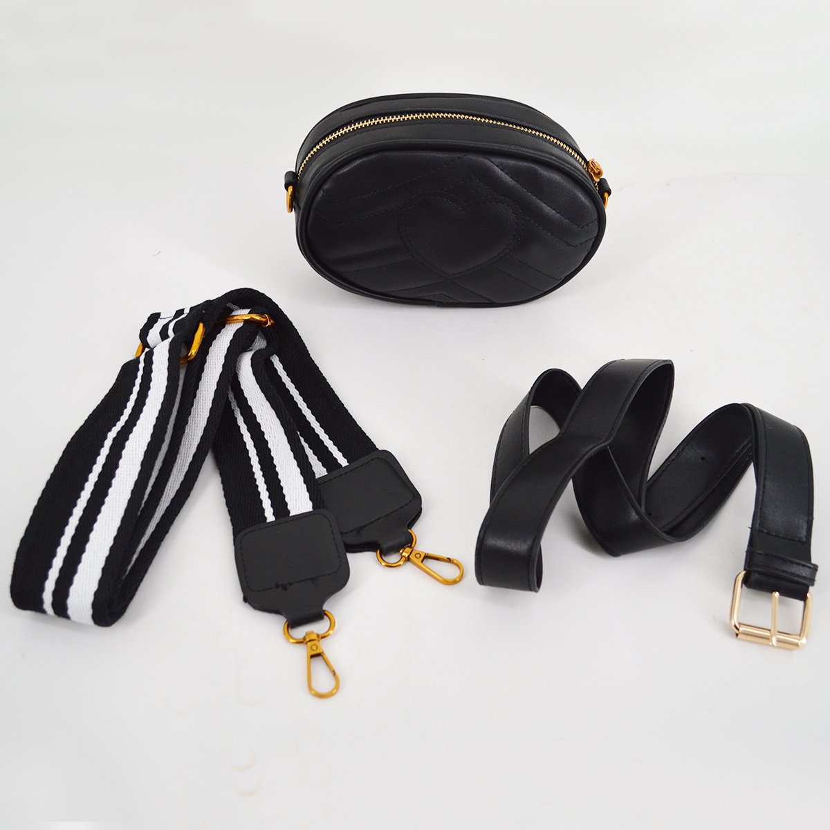 Mily Fashion Women Elegant PU Leather Waist Bag Love Shape Pattern Embroidery Cross Body Bag Fanny Packs by Mily (Image #4)