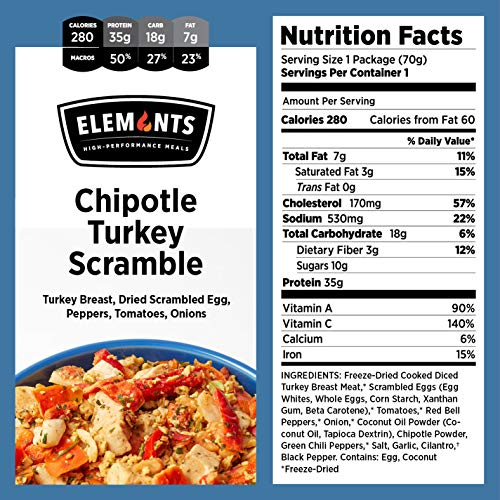 Elements Meals | Chipotle Turkey Scramble | 10-Pack | Healthy Freeze Dried Meals | Paleo-Friendly | Delicious, Backpacking and Camping Food | High Protein | Just Add Water by Elements (Image #1)