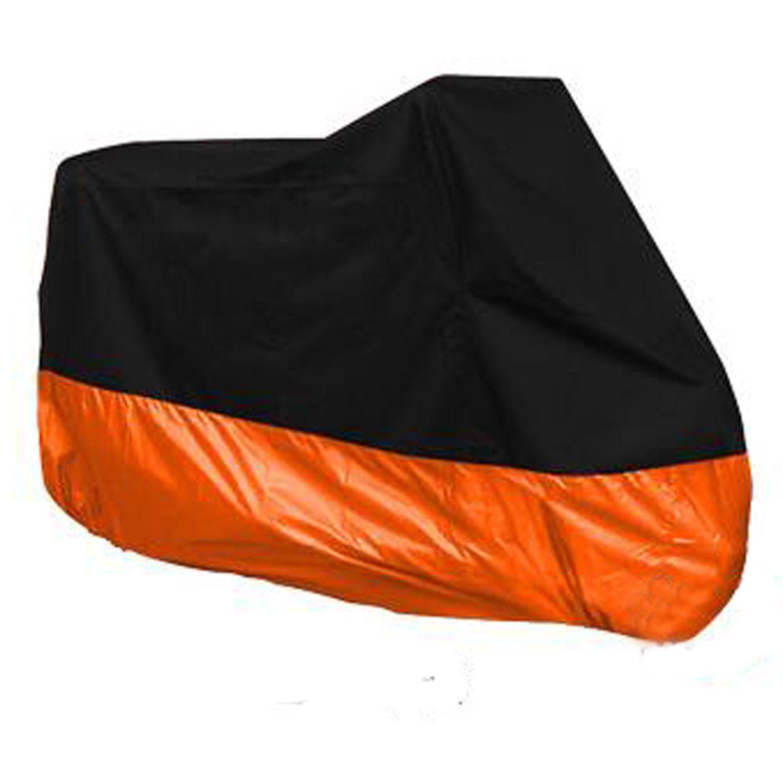 HANSWD Motorcycle Dust Cover Waterproof Uv Cover For Harley Davidson Yamaha Kawasaki Universal (XL, Black and Orange)