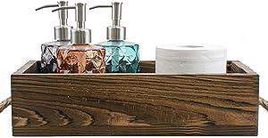 Kingrol Bathroom Decor Box, Toilet Paper Holder, Wood Box Storage Bin Tray, Rustic Bathroom Kitchen Table Counter Farmhouse Decor