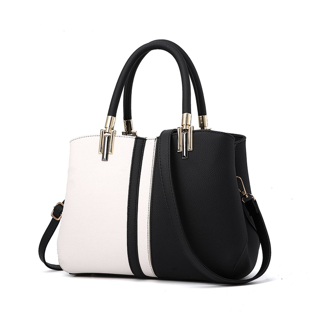 2182ac3d1db3 Amazon.com  Nevenka Purses and Handbags for Women Top Handle Bags Leather  Satchel Totes Shoulder Bag from (Black)  Clothing