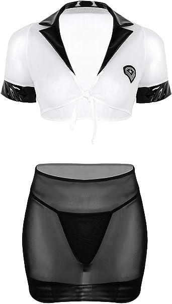 YOOJIA Mujer Disfraz Erótico de Secretaria 3Pcs Camiseta Blanca ...