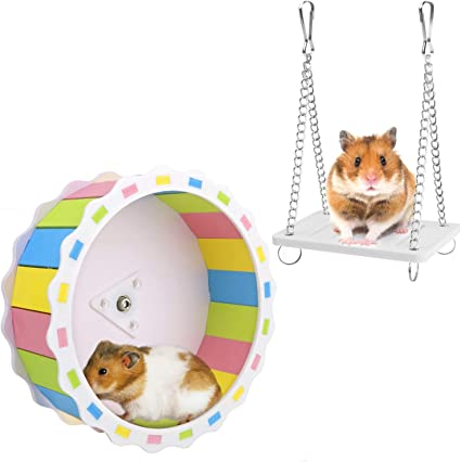 5.5 Inches in Diameter Small Hamster Toys Silent Exercise Running Wheel for Hamster Entertainment Stay Healthy FOUUA Hamster Wheel with Swing
