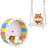 BSMTech Hamster Wheel with Swing, Wooden Wheel Swing for Hamsters, Pet Exercise Wheel Chinchilla Running Wheel Toy…