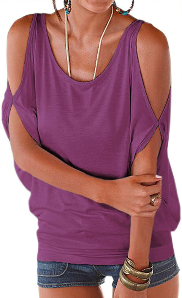 PINUPART Relaxed Fit T-Shirt Tops Women Classic Style Tops Purple2 Small