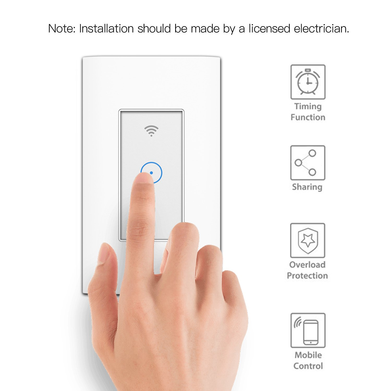 Smart Light Switch Wi Fi In Wall Wireless Compatible Singer Heater Wiring Diagram With Amazon Alexa Remote Control Your Fixtures From Anywhere Timing Function