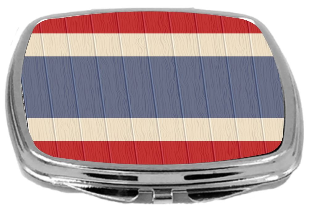 Rikki Knight Compact Mirror on Distressed Wood Design, Thailand Flag, 3 Ounce by Rikki Knight (Image #1)