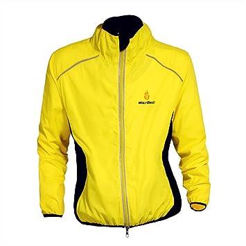 WOLFBIKE bicicleta Jersey Hombre Montar transpirable Ciclo Chaqueta Ropa bici camisas de manga largas Abrigo del viento XXL Amarillo: Amazon.es: Deportes y ...