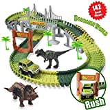 HOMOFY Dinosaur Toys Slot Car Race Track Sets Jurassic World with Flexible Tracks 2 Dinosaurs,Bridge Create A Road 142 Pcs Car Track Toys for 1 2 3 Year Old Boys Girls Toddlers Gifts