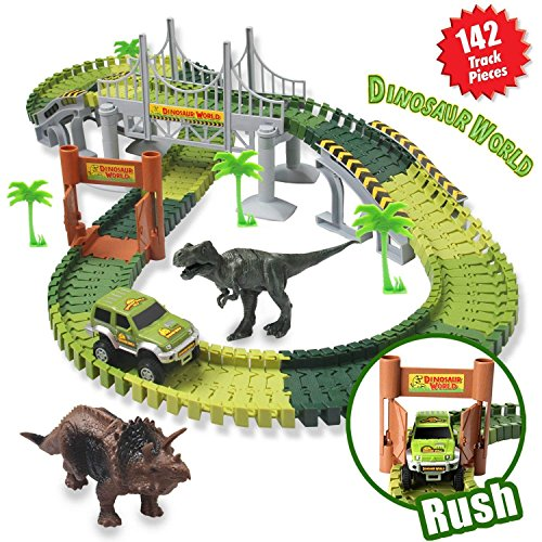 HOMOFY Dinosaur Toys Slot Car Race Track Sets Jurassic World with Flexible Tracks 2 Dinosaurs Bridge Create A Road 142 Pcs Car Track Toys for 1 2 3 Year Old Boys Girls Toddlers Gifts
