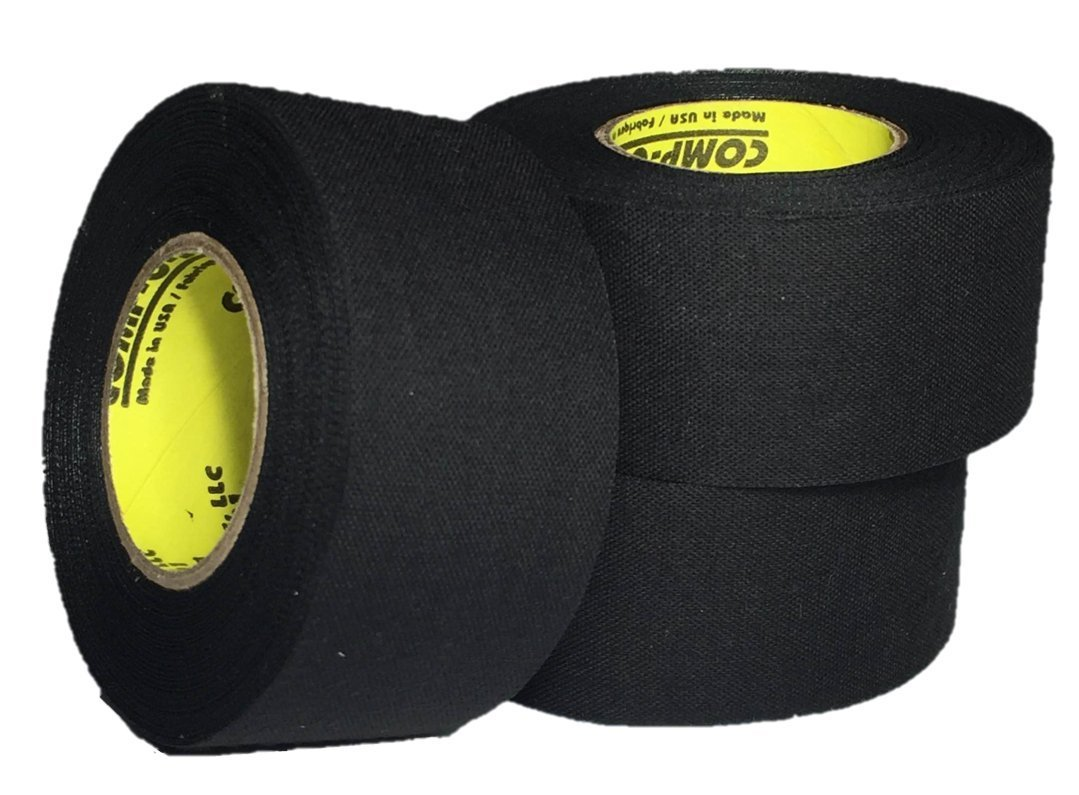 3 Rolls of Comp-O-Stik BLACK Hockey Lacrosse Bat Cloth Stick Tape ATHLETIC TAPE (3 Pack) Made In The U.S.A. (1.5'' x 15 yards)