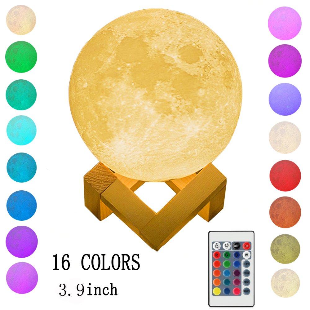 Night Light Lighting LED 3D Printing Warm Moon Lamp Touch Control Brightness Gift for Kids and Halloween Equipment (16Colors 3.9inch)
