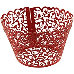 Chiefmax Little Vine Lace Cupcake Wrapper (Laser Cut Filigree) - Great for Wedding or Birthday Party Decoration (Red)