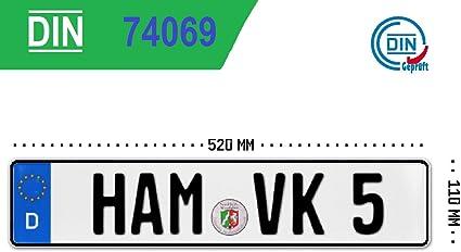 Kfz Kennzeichen Autokennzeichen Wunschkennzeichen Saisonkennzeichen Nummernschild Pkw Kennzeichen Fahrradträger Anhänger Elektro Auto Oldtimer Reflektierend Individualisierbar 1x Eu520x110x1mm Auto