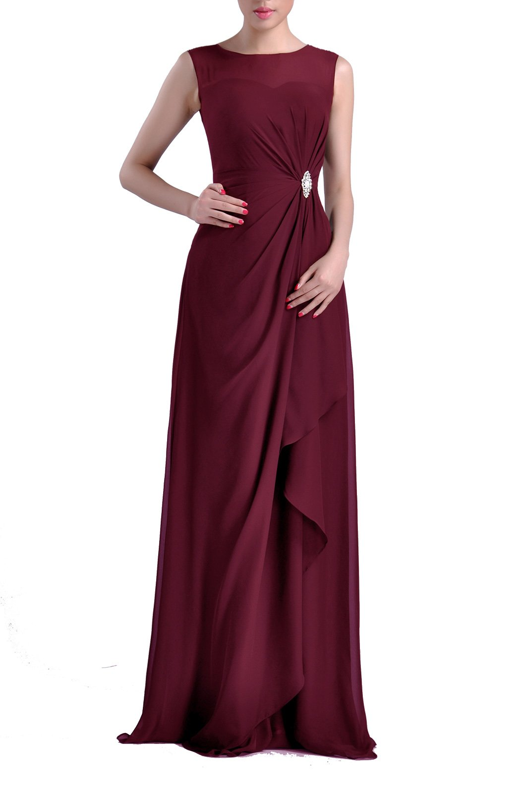 65ae90297851 Formal Bridesmaid Dress Chiffon Special Occasion Long Mother of The Bride  Groom Dress, Color Wine,8