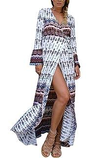 c8b9a5fa7eb Bigood Robe Longue Eté Femme Veste Manche Longue Col V Fendue Bohème Cover  Up Bikini Plage