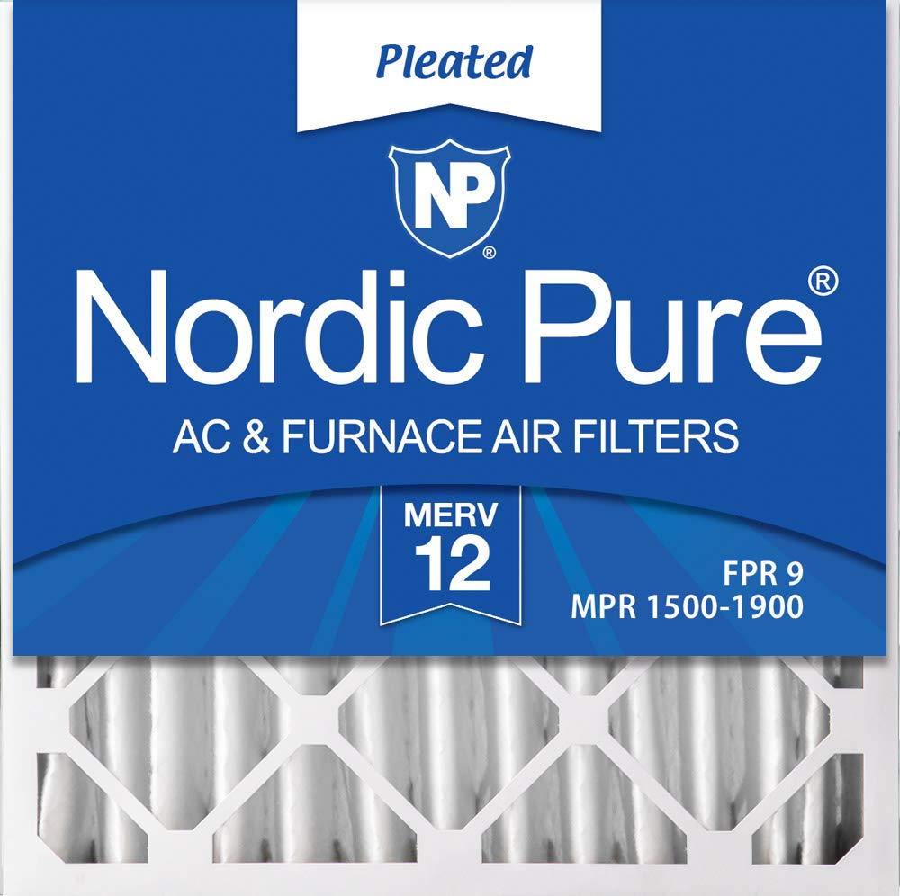 Nordic Pure 20x20x4M12-2 MERV 12 Pleated AC Furnace Air Filters, 2 Pack, 2 PACK, 2 PACK by Nordic Pure