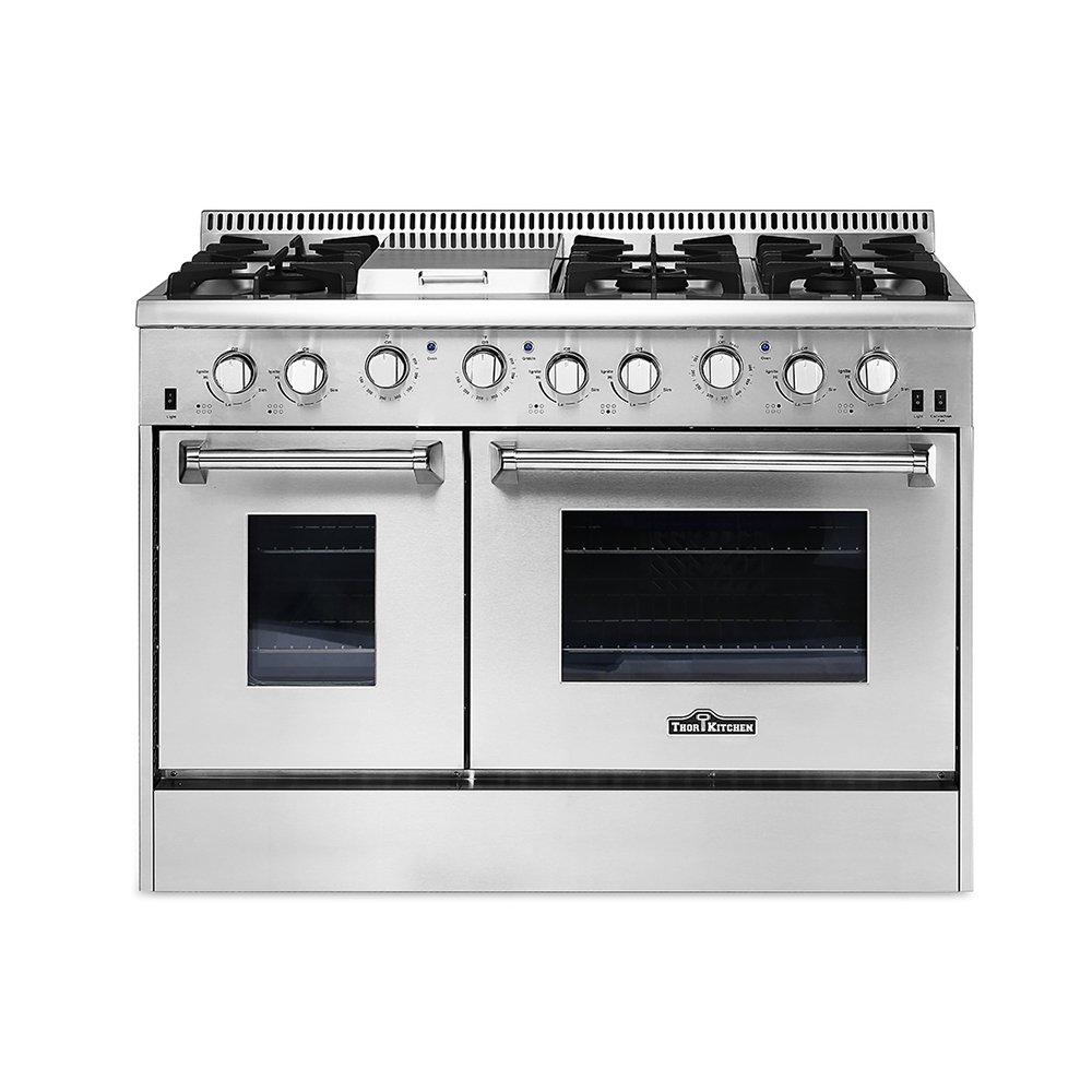 Amazon Com Thor Kitchen Hrg4808u 48in Stainless Steel Kitchen Cooker 6 Burner Gas Range With Double Oven Appliances