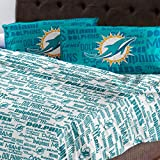4pc NFL Miami Dolphins Full Bed Sheet Set Football Team Anthem Bedding Accessories
