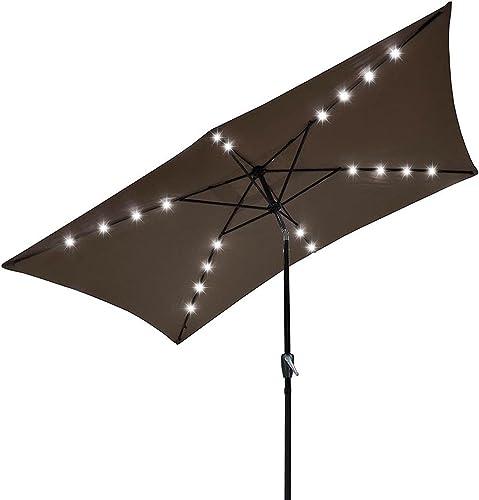 KOVAL INC. 10'x6.5' Solar Powered Aluminum Tilt Patio Umbrella