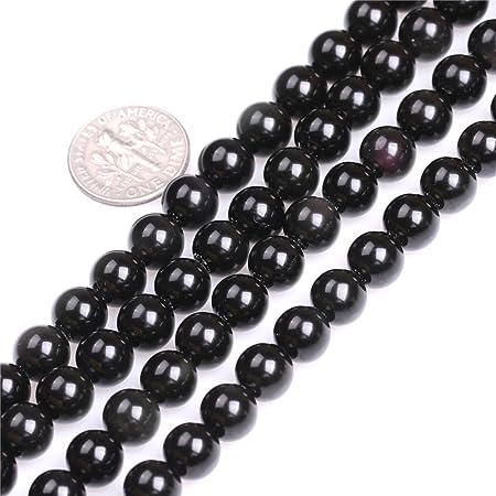 15in Strand 6mm 8mm Gemstone Bead High Quality Obsidian Gemstone Beads Black Obsidian Beads Polished Obsidian Beads