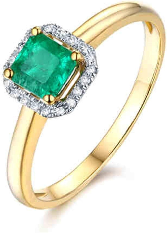 Daesar Anillo de Oro 18K Mujer Cuadrado Esmeralda Verde Blanca 0.5ct Talla 6,75-25