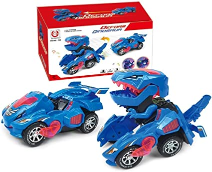 Transformation Toy Electric Race Car-Dinosaur with Sound and LED Light Kids Gift