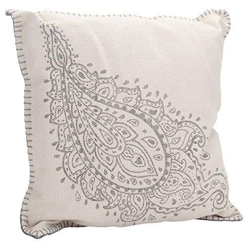 Paisley Dhurrie Light Gray 20 X 20 Indoor Outdoor Throw Pillow