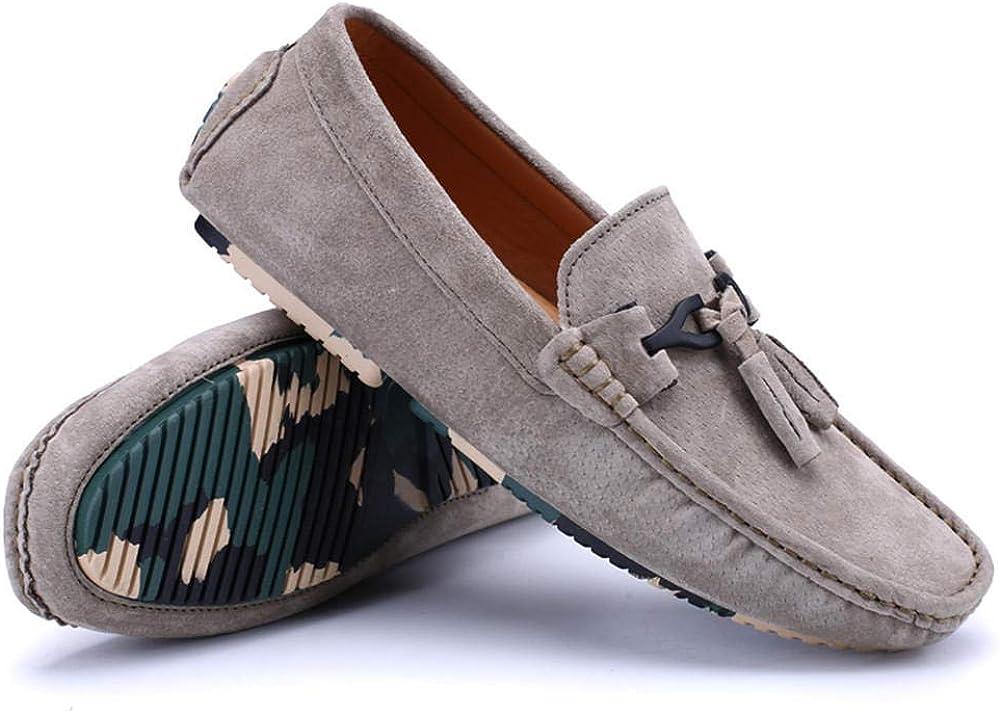 Uomo Mocassini Scamosciato Scarpe di Guida Moda Pantofole Mocassini in Pelle Casual Traspirante Moda Casual per Ufficio Cachi