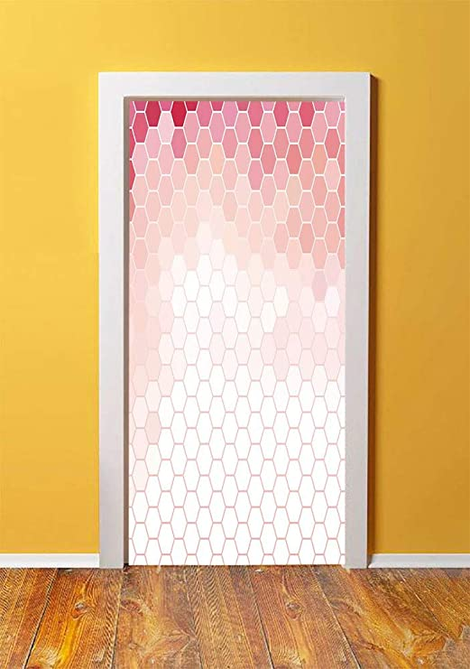 Amazon Com Light Pink 3d Door Sticker Wall Decals Mural Wallpaper Hexagon Forms Linked Abstract Beehive Gradient Toned Creative Image Decorative Diy Art Home Decor Poster Decoration 30 3x78 16888 Coral Peach Hot Kitchen Dining