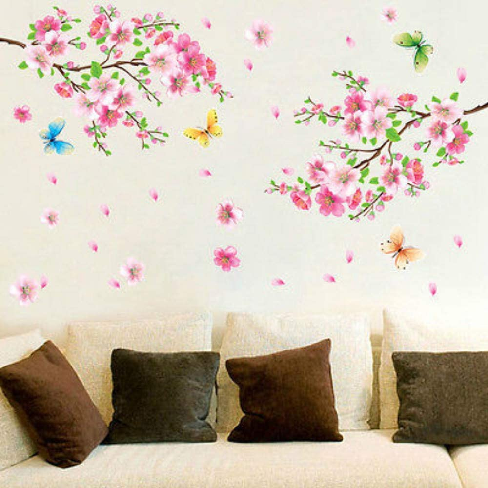 Wall Art Decals Stickers Wall Quote 3D Pink Removable Peach Plum Cherry Blossom Flower Butterfly Vinyl Art Decal Wall Household Sticker Room Decor, vertice