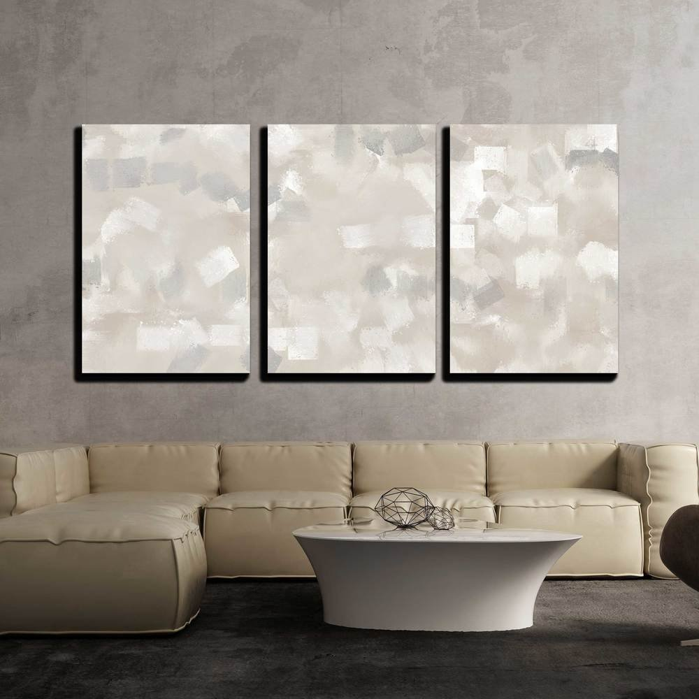 wall26 - 3 Piece Canvas Wall Art - Beige and Grey Abstract Art Painting - Modern Home Decor Stretched and Framed Ready to Hang - 24''x36''x3 Panels