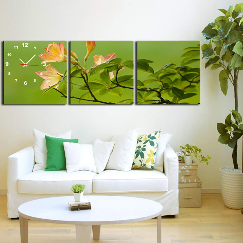 3 Panels Wall Art Clock Scenery Canvas Print Flower Painting Stretched Ready to Hang Modern Home Decor Nature Pictures for Living Room Office Bedroom,30×30CM by HSRG
