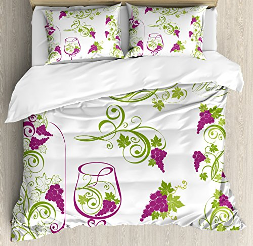 Ambesonne Wine Duvet Cover Set, Wine Bottle and Glass Grapevines Lettering with Swirled Branches Lines, Decorative 3 Piece Bedding Set with 2 Pillow Shams, Queen Size, Purple Lime Green White