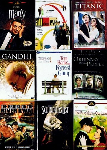 Best Picture Oscar Winner Collection (9-pack, 13 Discs): All About Eve 2-dvd, 1950) / Forrest Gump (2-dvd, 1994) / Ordinary People (1980) / Titanic (2-dvd Collector's Edition, 1997) / the Best Years of Our Lives (1946) / the Bridge on the River Kwai (1957) / Marty (1954) Gandhi (2-dvd, 1982) / Schindler's List (1993) Total 23 Hours 24 Mins)