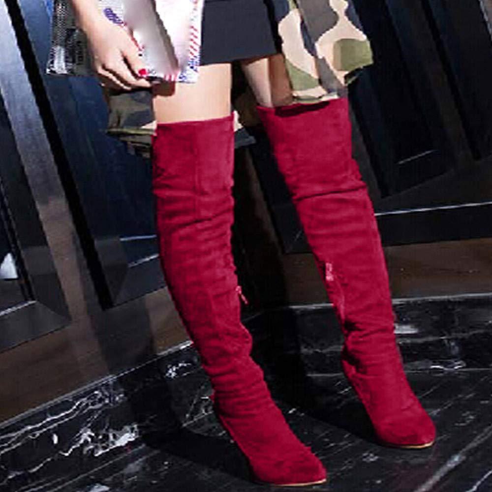Tatis schuhe Damen Overknee-Stiefel Rreine Rreine Overknee-Stiefel Farbe Wildleder Spitze Stilettos Lässige Mode Klassisch Retro Wild Auch Punkt Bar Essential Stiefel edb53a