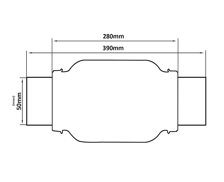 50 x 280 mm Universal Edelstahl Flexrohr inkl Montageschellen