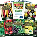 Organic Heirloom Vegetable Garden Seeds - 7 Seed Packets Plus 8 Gardening Guide eBooks, Wildflower Seeds - Non-GMO, No Fillers - Bulk Variety Pack of Tomato, Carrot, Lettuce, Radish, Spinach, Cucumber
