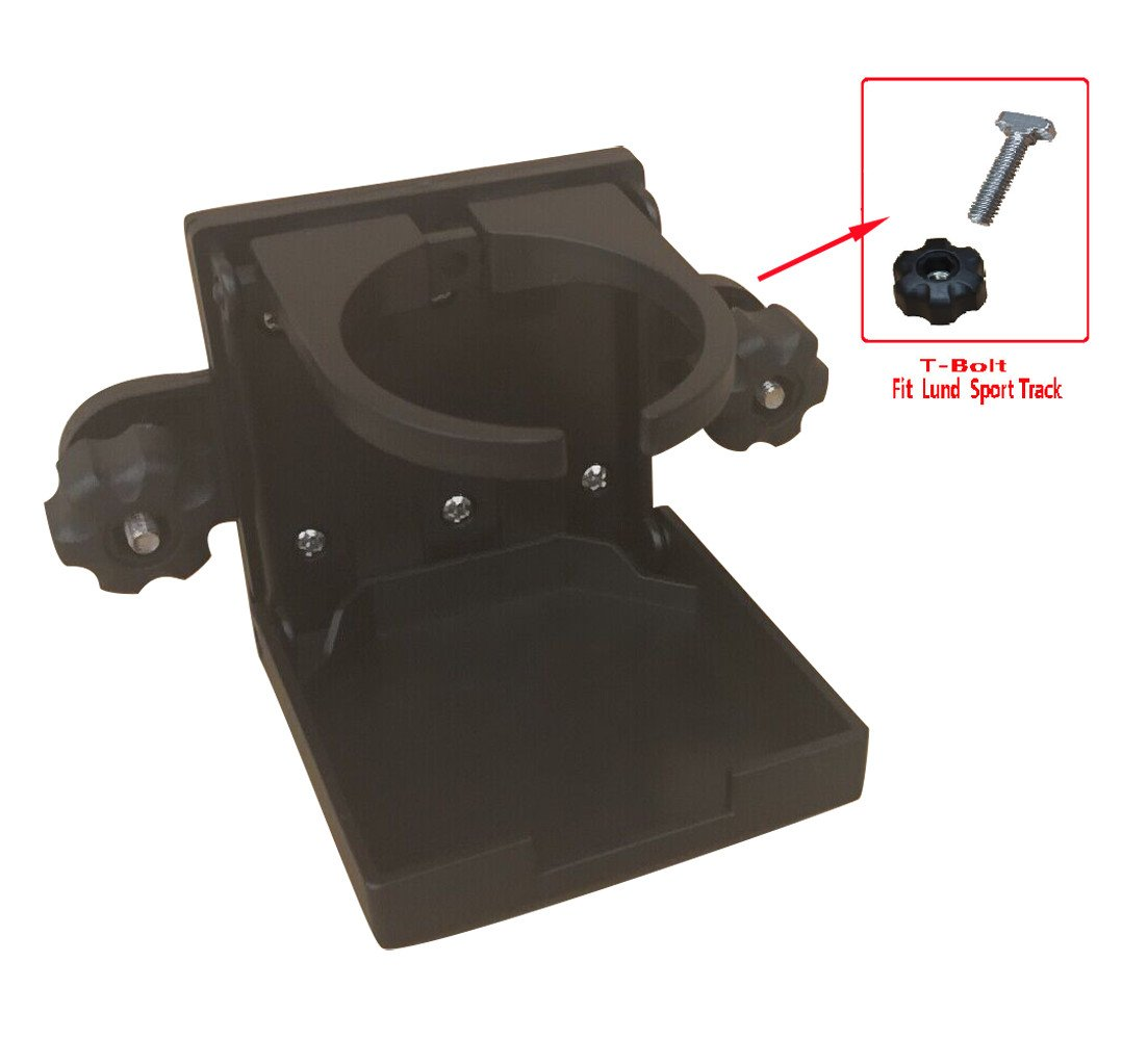 Brocraft Folding Cup Holder For Tracker Boat Versatrack System/90 Degree Lund Sport Track-Black