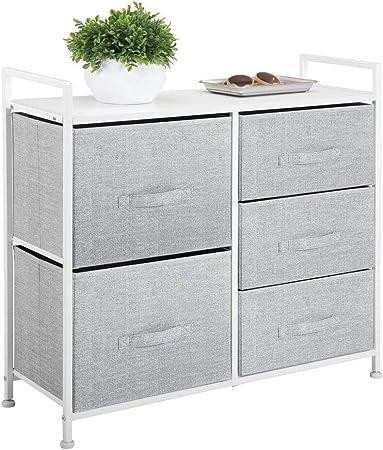 mDesign Cómoda de tela – Estrecho organizador de armarios con 5 cajones – Práctico mueble cajonera para el dormitorio, las habitaciones infantiles o zonas pequeñas – Armario con cajones – gris: Amazon.es: Hogar