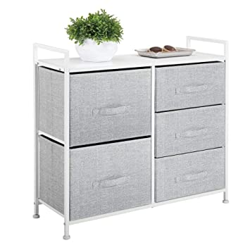 mDesign Wide Dresser Storage Tower - Sturdy Steel Frame, Wood Top, Easy Pull Fabric Bins - Organizer Unit for Bedroom, Hallway, Entryway, Closets - ...