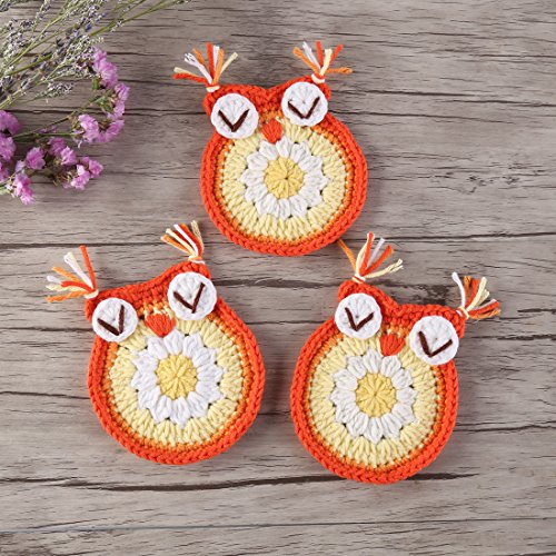 ZORJAR Handmade Cotton Animals Crochet Table Place Mats Doily (Owl Yellow)