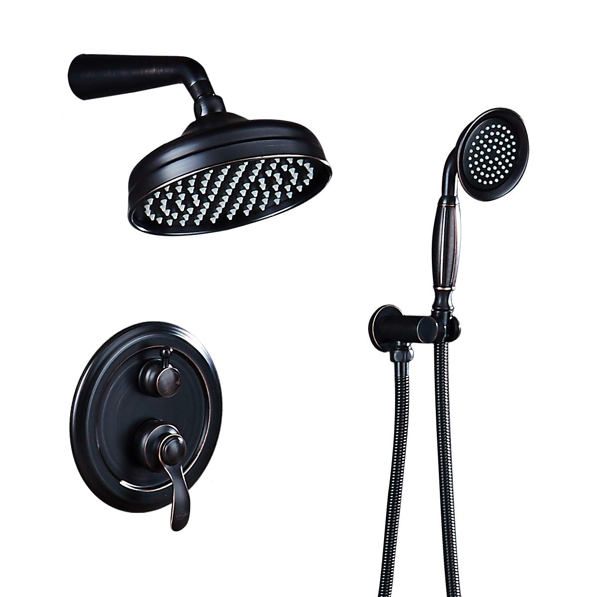 AUKTOPT Rainfall Shower Head System with Handshower Bathroom Luxury Rain Mixer Combo Set Oil Rubbed Bronze B Contain Faucet Rough-in Valve