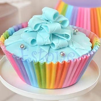 Dabixx 100 Piezas Colorido arcoíris Papel para Tartas de Cupcakes moldes para Hornear Magdalenas para Fiesta: Amazon.es: Hogar