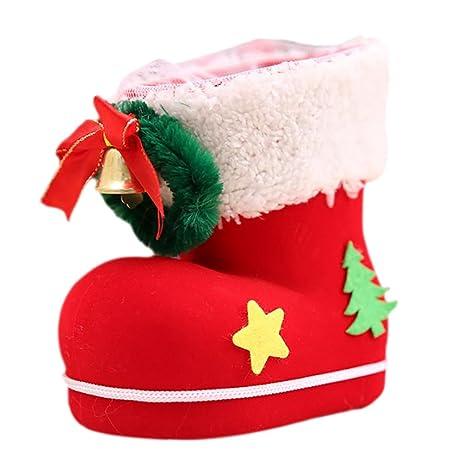 leisial 2 pcs charmant rojo árbol de Navidad pequeñas botas Carlos  decoración colgante para Candy bolsa ff24aac71e7c3