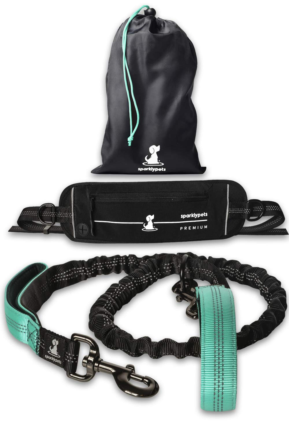 SparklyPets Hands-Free Dog Leash for Medium and Large Dogs - Professional Harness with Reflective Stitches for Training, Walking, Jogging and Running Your Pet127942;Special Edition Premium Teal by SparklyPets