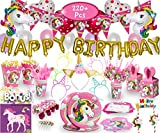 Imagine's Complete Unicorn Party Set – 220+ Piece Rainbow Girls Birthday Supplies Pack with Unicorn Balloons, Headbands, Party Favors for Kids, MORE – Magical Unicorn Sleepover Party Supplies for 15