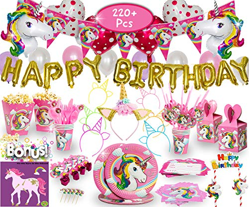 Imagine's Complete Unicorn Party Supplies - 220+ Piece Rainbow Girls Birthday Supplies Pack with Unicorn Balloons, Headbands, Party Favors for Kids, MORE - Magical Unicorn Sleepover Party Set for 15