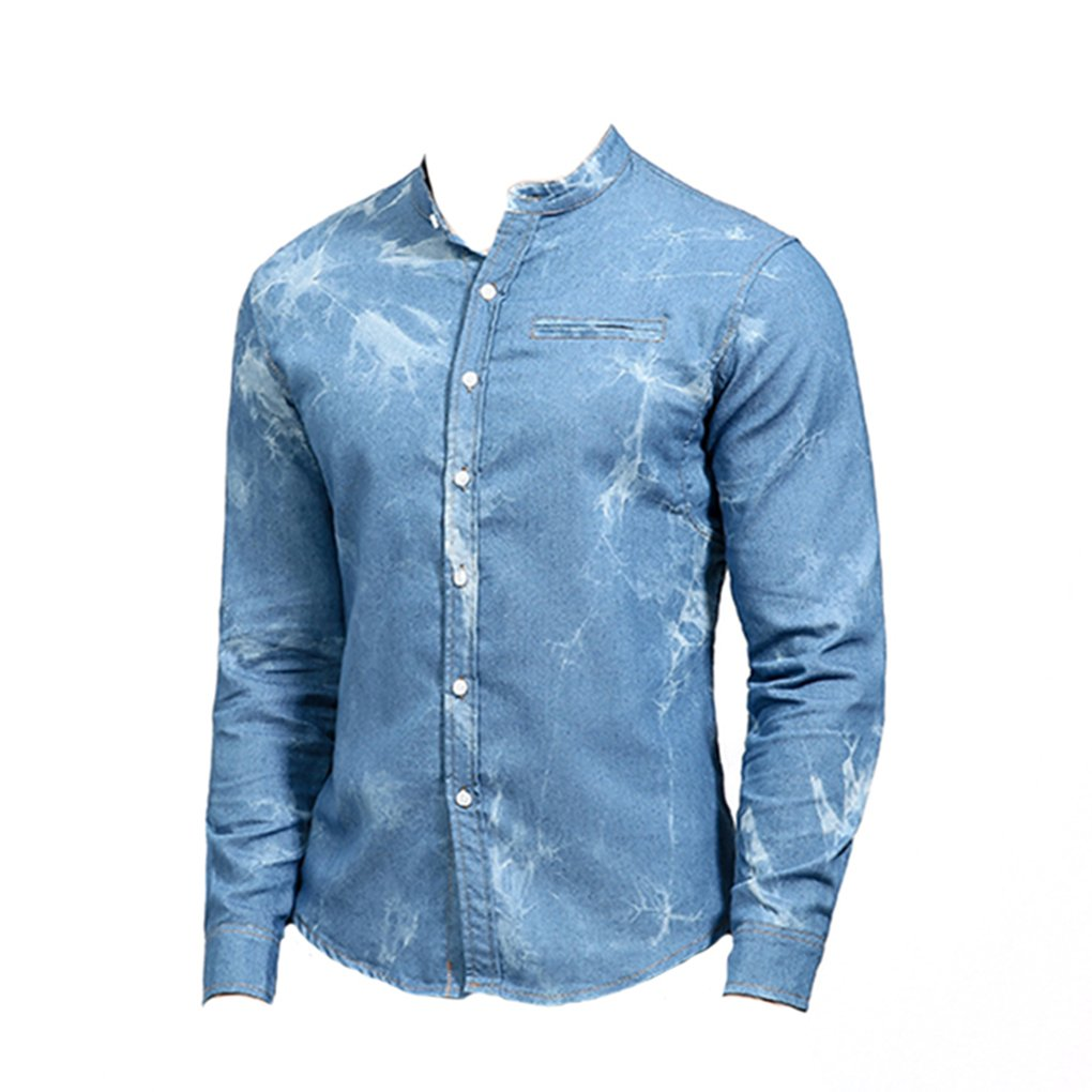 Shirts Tops Men Autumn Casual Slim Fake Pocket Denim Stand Collar